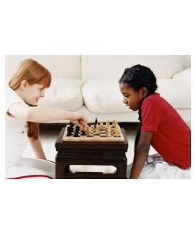 two girls playing chess